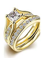 2016 Luxury Zircon Noble Gold Color Titanium Steel Wedding Ring Set For Women Gift
