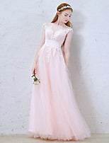 Formal Evening Dress-Candy Pink A-line Jewel Floor-length Tulle