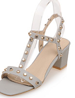 Women's Shoes Chunky Heel Heels / Peep Toe Sandals Casual White / Gray