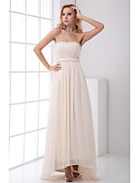 Formal Evening Dress-Champagne A-line Strapless Asymmetrical Chiffon