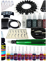 Solong Tattoo Rotary Tattoo Machine & Permanent Makeup Pen 20 Needle Cartridges Ink Set Power Supply Foot Pedal EK101-5