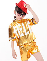 Jazz Outfits For Boys/Girls Kid's Children's Performance Polyester Sequins 2 Pieces Short Sleeve High Top Shorts Gold/Silver/Fuchsia