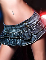 De las mujeres Faldas-Mini Sexy Microelástico-Algodón / Poliéster