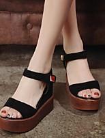 Chaussures Femme-Habillé / Décontracté-Noir-Talon Compensé-Bout Ouvert / A Plateau-Sandales-Similicuir