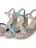 Women's Shoes Leatherette Wedge Heel Wedges Sandals Outdoor / Dress Blue / Pink / White