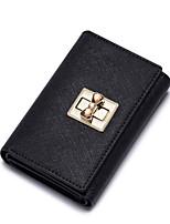 NUCELLE Women Real Genuine Cowhide Leather Purse Wallet Clutch Bag Lock Trifold Short -Black