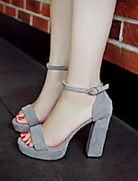 Women's Shoes Suede Fashion All Match Chunky Heel Heels / Peep Toe Heels Party & Evening / Dress