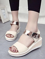 Women's Shoes Suede Wedge Heel Peep Toe / Comfort / Round Toe Sandals Outdoor / Casual Blue / Pink / White / Beige