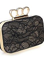 Women Chiffon / Metal / Satin Minaudiere Shoulder Bag / Clutch / Evening Bag-Black