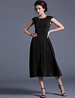 Baoyan® Women's Round Neck Short Sleeve Tea-length Dress-120047