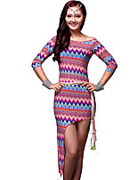 Belly Dance Outfits Women's Training Milk Fiber Pattern/Print 3 Pieces Green / Purple / Red Belly Dance 3/4 Length Sleeve NaturalDress /