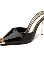 Women's Shoes Patent Leather Stiletto Heel Heels / Slippers Heels / Slippers Dress / Casual Black / Yellow / Almond