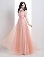 Formal Evening Dress-Pearl Pink A-line V-neck Floor-length Satin / Tulle