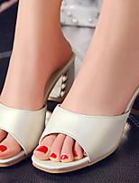 Chaussures Femme-Bureau & Travail / Habillé-Bleu / Rose / Blanc / Or-Gros Talon-Talons / A Bride Arrière / Bout Ouvert / Chaussons-