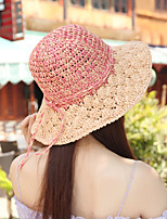 Women Straw Bow Color Block Fedora Hat,Cute / Party / Casual Spring / Summer / Fall