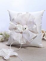 Ring Pillow Satin Garden Theme / Floral Theme With Rhinestones / Petals