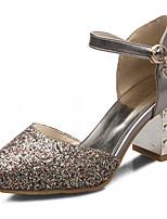 Zapatos de mujer-Tacón Robusto-Tacones-Tacones-Exterior / Oficina y Trabajo / Vestido-Semicuero-Gris / Oro