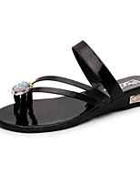 Women's Shoes Leatherette Summer Comfort Outdoor / Casual Flat Heel Crystal Black / Silver / Gold