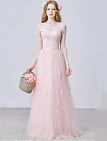 Formal Evening Dress-Pearl Pink Sheath/Column Off-the-shoulder Floor-length Tulle