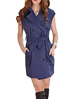 Women's Solid Blue / Brown Trench Coat,Simple Sleeveless Cotton