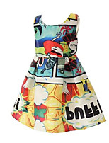 Girl's Multi-color Dress,Cartoon Polyester Spring / Fall