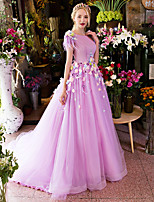 Formal Evening Dress-Lilac Ball Gown Scoop Court Train Satin / Tulle