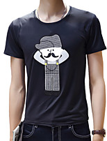 Summer Men's Round Neck Short Sleeve Fashion Cartoon Printing Slim Casual T-Shirt Tops