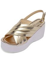 Women's Shoes Cowhide / Nappa Leather Wedge Heel Wedges / Platform / Slingback / Comfort Sandals Dress Silver