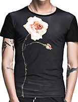 Summer Men's Fashion Round Neck Short Sleeve Rose Printing T-Shirt Casual Slim Tops