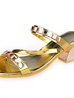 Women's Shoes Leatherette Summer Heels Outdoor / Casual Chunky Heel Crystal Silver / Gold