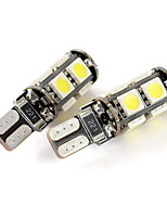 exLED T10 1.8W 144LM 9-SMD 5050 LED White Light Car Clearance Lamp (12V / Pair)