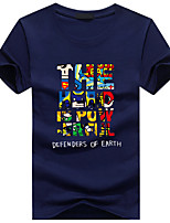 Men's Short Sleeve T-Shirt,Cotton Casual / Sport Print / Letter 916123