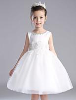 A-line Knee-length Flower Girl Dress-Cotton / Satin / Tulle Sleeveless
