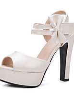 Women's Shoes Chunky Heel Peep Toe Sandals Dress Blue / Pink / Purple / White / Beige