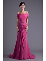 Formal Evening Dress Trumpet / Mermaid Bateau Sweep / Brush Train Chiffon / Lace with Appliques / Beading / Lace