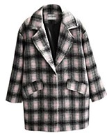 Women's Plaid Pink Pea Coats,Street chic Long Sleeve Polyester