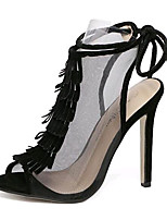 Women's Shoes Tulle Summer Heels Party & Evening Stiletto Heel Lace-up / Tassel Black / Almond