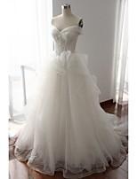 웨딩 드레스-아이보리(색상은 모니터에 따라 다를 수 있음) A 라인 쿼트 트레인 오프 더 숄더 레이스 / 튤