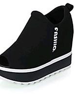 Chaussures Femme-Extérieure / Bureau & Travail / Sport / Décontracté-Noir / Rouge-Plateforme-Creepers-Sandales-Toile