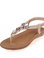 Chaussures Femme-Bureau & Travail / Habillé / Décontracté-Noir / Blanc-Talon Plat-Salomé / Bout Ouvert-Sandales / Tongs-PU