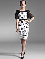 Baoyan® Women's Round Neck Short Sleeve Knee-length Dress-160003