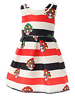 Girl's Red Dress,Stripes / Cartoon Cotton Summer / Spring