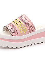 Chaussures Femme-Extérieure / Habillé / Décontracté-Noir / Rose / Blanc-Plateforme-Bout Ouvert / Chaussons-Sandales / Chaussons-PU