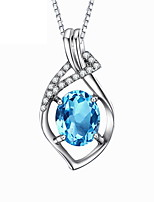 Classic Rhinestone Heart Pendant Necklaces Real 925 Silver Chain Blue Zircon Women 2016 Wonderful Crystal Jewelry