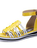 Chaussures Femme-Décontracté / Soirée & Evénement / Habillé-Noir / Jaune / Blanc-Talon Compensé-Compensées / A Plateau / Gladiateur-