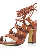 Women's Shoes Leather Chunky Heel Heels / Gladiator / Ankle Strap Sandals Office & Career / Dress / Casual Black / Brown