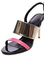 Розовый / Серебристый / Золотистый-Женская обувь-Свадьба / Для праздника / Для вечеринки / ужина-Кожа-На шпильке-На каблуках / С открытым