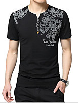 Men's Print Casual T-Shirt,Cotton Short Sleeve-Black / Blue / White / Gray