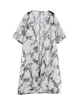 Women's Casual/Daily Simple Jackets,Print Round Neck ½ Length Sleeve White Polyester
