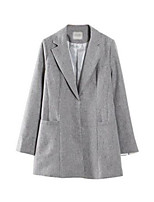 Women's Solid White / Black / Gray Coat,Simple Long Sleeve Nylon